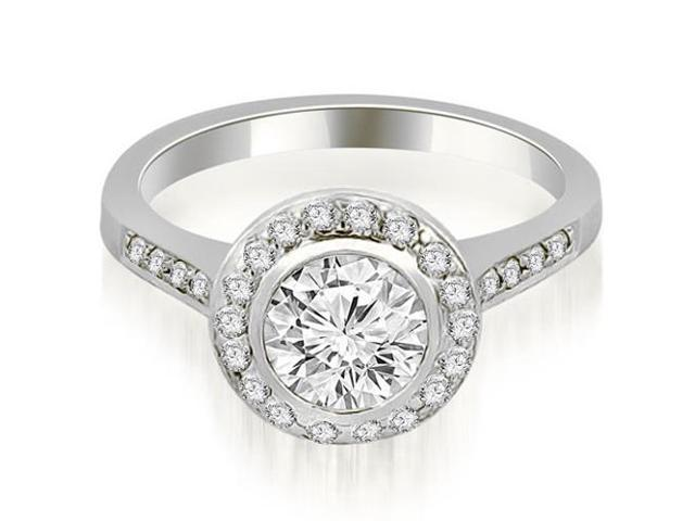 1.35 cttw. Bezel Center Round Cut Diamond Engagement Ring in Platinum