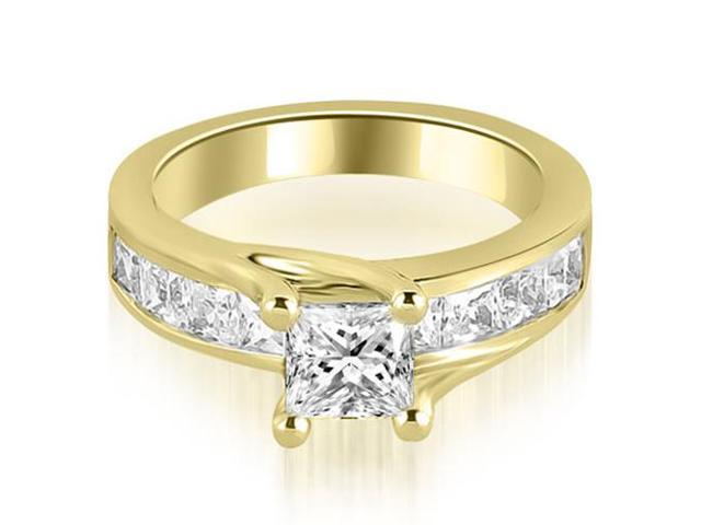 1.05 cttw. Princess Cut Channel Engagement Diamond Ring in 14K Yellow Gold