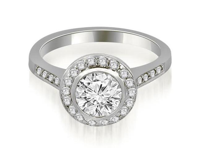 0.85 cttw. Bezel Center Round Cut Diamond Engagement Ring in 14K White Gold