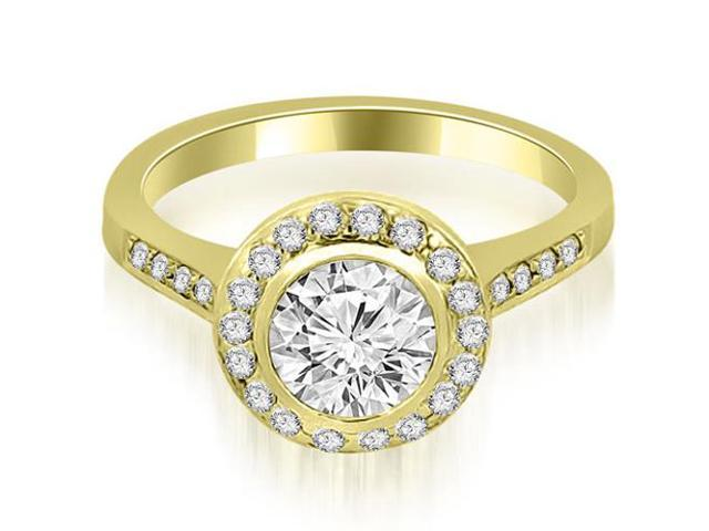 1.10 cttw. Bezel Center Round Cut Diamond Engagement Ring in 14K Yellow Gold