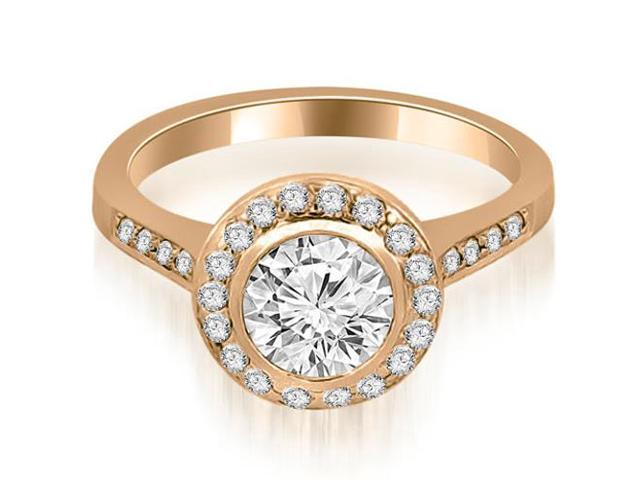 1.35 cttw. Bezel Center Round Cut Diamond Engagement Ring in 14K Rose Gold
