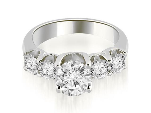 1.75 cttw. Five Stone Floating Round Cut Diamond Engagement Ring in Platinum