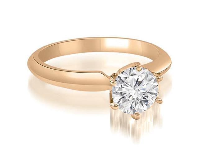 0.75 cttw. Knife Edge Solitaire Round Diamond Engagement Ring in 14K Rose Gold