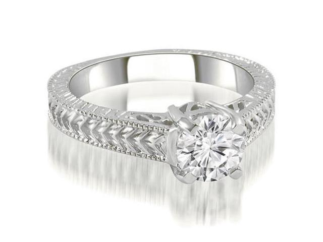 0.35 cttw. Antique Style Solitaire Diamond Engagement Ring in 14K White Gold