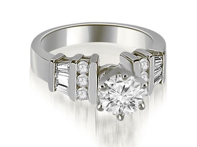 1.00 cttw. Round and Baguette Cut Diamond Engagement Ring in 14K White Gold