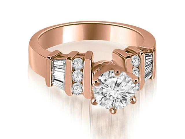 1.25 cttw. Round and Baguette Cut Diamond Engagement Ring in 18K Rose Gold