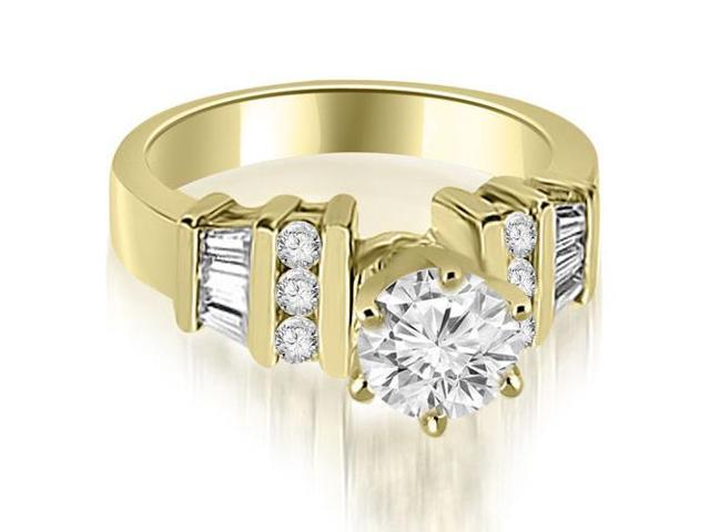 1.00 cttw. Round and Baguette Cut Diamond Engagement Ring in 18K Yellow Gold