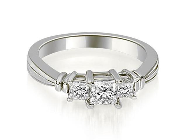 0.95 cttw. Thee Stone Princess Cut Diamond Engagement Ring in 18K White Gold
