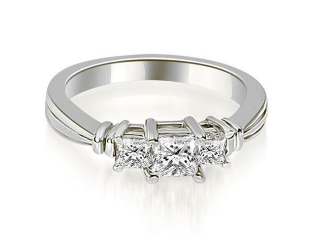 0.95 cttw. Thee Stone Princess Cut Diamond Engagement Ring in Platinum