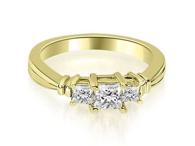 1.50 cttw. Thee Stone Princess Cut Diamond Engagement Ring in 18K Yellow Gold