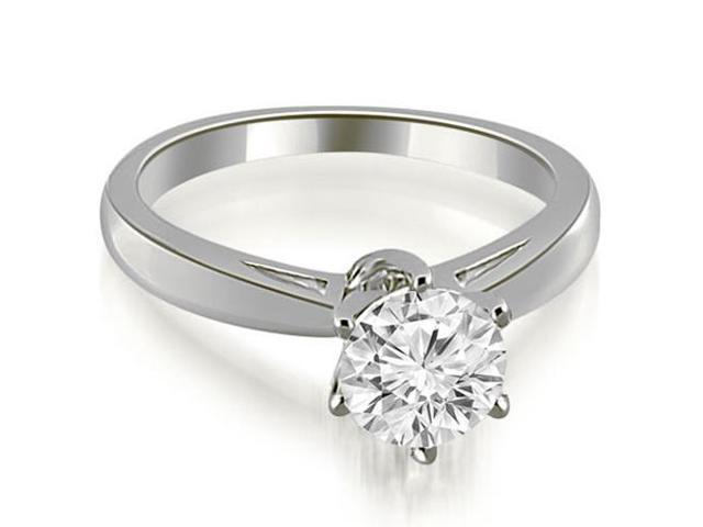 1.00 cttw. Solitaire six Prong Diamond Engagement Ring in 14K White Gold
