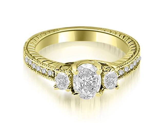 1.00 cttw. Antique Three Stone Oval Diamond Engagement Ring in 14K Yellow Gold