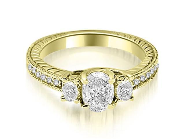 1.00 cttw. Antique Three Stone Oval Diamond Engagement Ring in 18K Yellow Gold