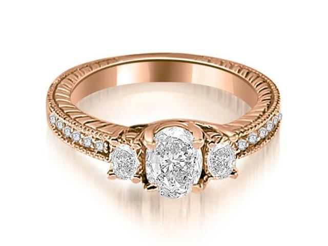 1.00 cttw. Antique Three Stone Oval Diamond Engagement Ring in 18K Rose Gold
