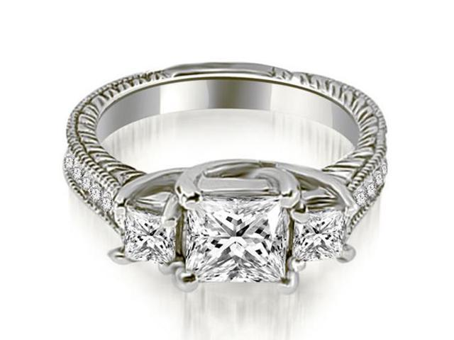 1.25 cttw. Antique Three Stone Princess Diamond Engagement Ring in 14K White Gold