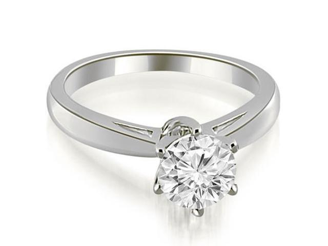 0.35 cttw. Solitaire six Prong Diamond Engagement Ring in 18K White Gold