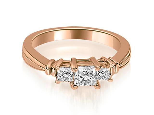 0.85 cttw. Thee Stone Princess Cut Diamond Engagement Ring in 18K Rose Gold