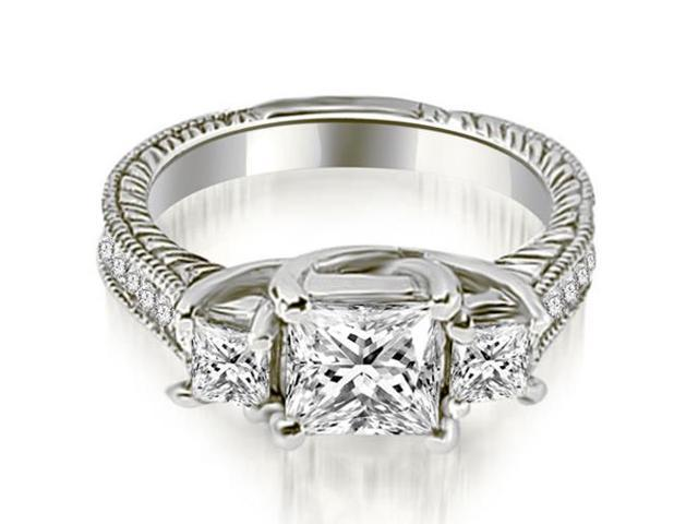 1.50 cttw. Antique Three Stone Princess Diamond Engagement Ring in 18K White Gold