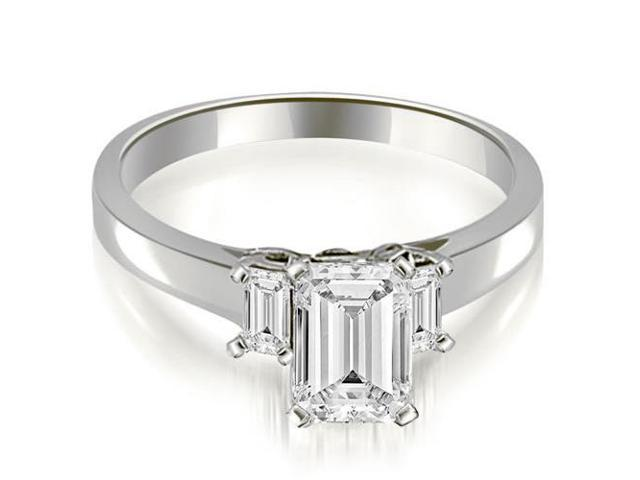 1.10 cttw. Emerald Cut Three Stone Diamond Engagement Ring in 14K White Gold