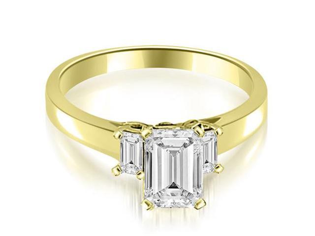 1.00 cttw. Emerald Cut Three Stone Diamond Engagement Ring in 14K Yellow Gold