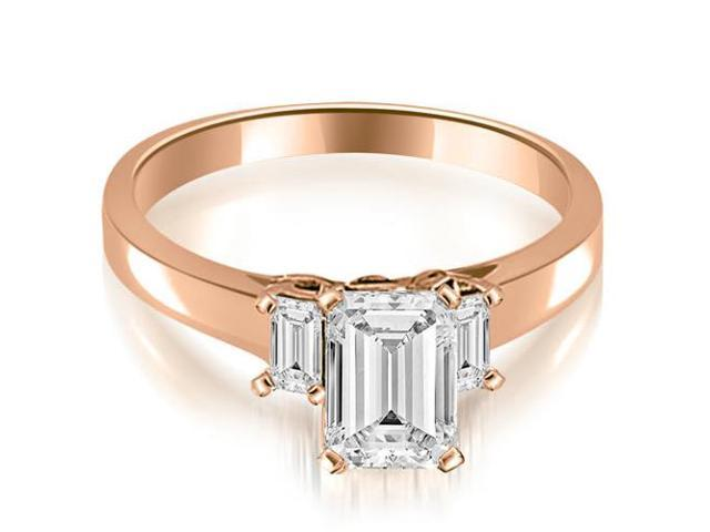 1.40 cttw. Emerald Cut Three Stone Diamond Engagement Ring in 18K Rose Gold