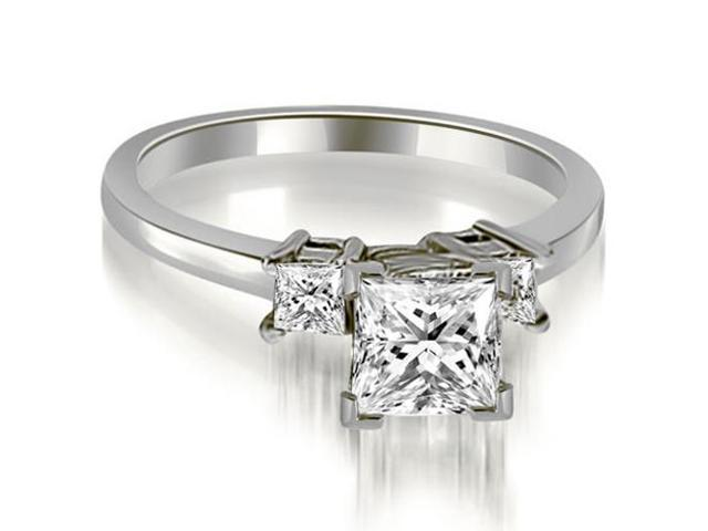 0.85 cttw. Princess Cut Diamond Engagement Ring in 14K White Gold