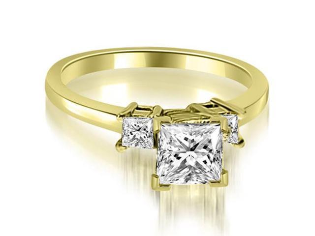 1.10 cttw. Princess Cut Diamond Engagement Ring in 14K Yellow Gold