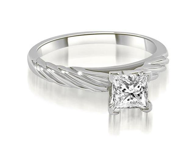 0.45 cttw. Cathedral Princess Solitaire Diamond Engagement Ring in 18K White Gold