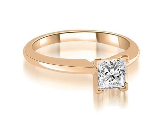 0.35 cttw. V-Prong Princess Cut Diamond Solitaire Engagement Ring in 14K Rose Gold