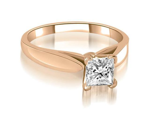 0.45 cttw. Cathedral V-Prong Solitaire Diamond Engagement Ring in 14K Rose Gold