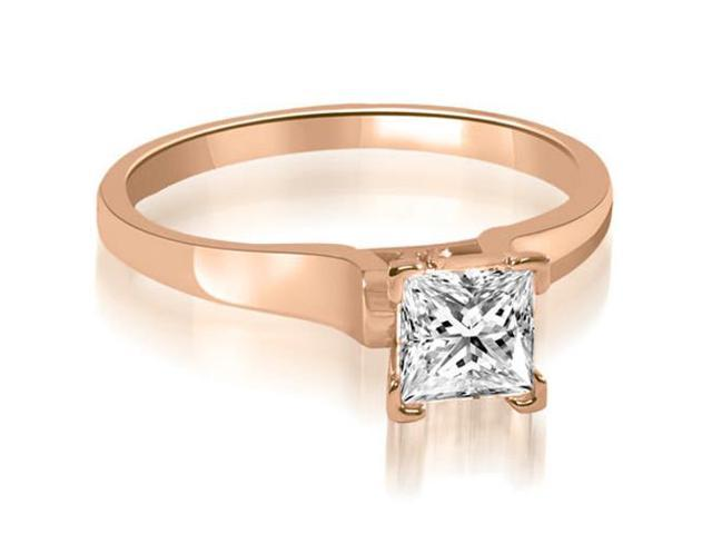 0.50 cttw. Stylish V-Prong Solitaire Diamond Engagement Ring in 18K Rose Gold