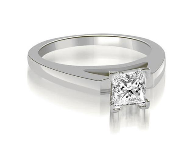 0.75 cttw. Cathedral V-Prong Princess Diamond Engagement Ring in 14K White Gold