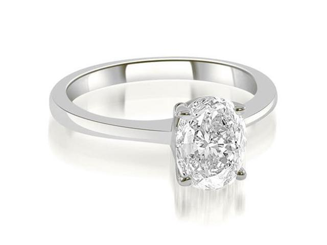 1.00 cttw. Solitaire Oval Cut Diamond Engagement Ring in Platinum