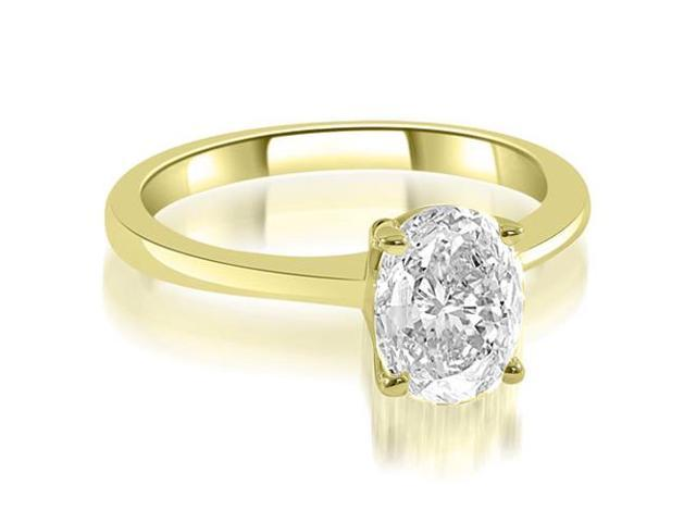 0.45 cttw. Solitaire Oval Cut Diamond Engagement Ring in 14K Yellow Gold
