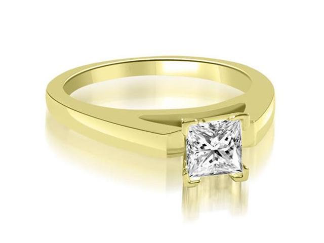 0.75 cttw. Cathedral V-Prong Princess Diamond Engagement Ring in 14K Yellow Gold