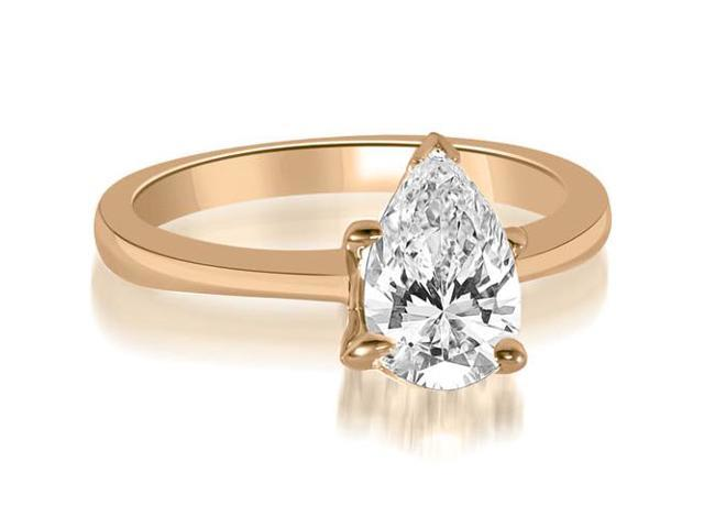 0.45 cttw. Solitaire Pear Cut Diamond Engagement Ring in 14K Rose Gold