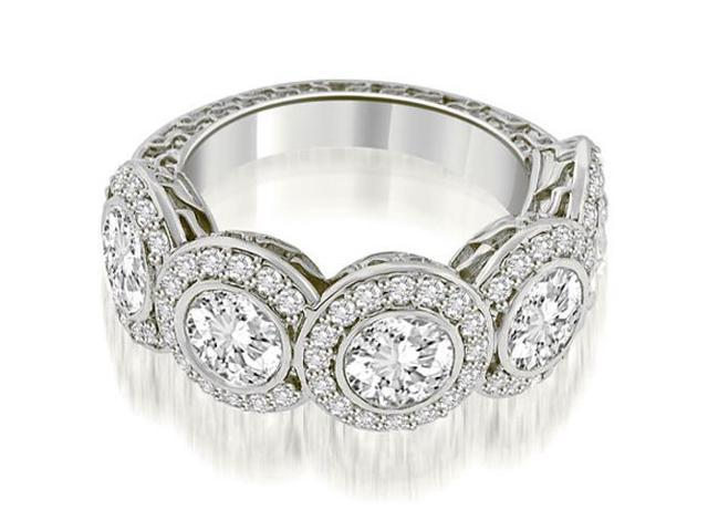 3.18 cttw. Antique Halo Cluster Diamond Ring in 18K White Gold