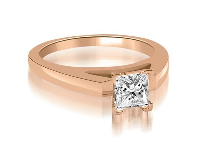 0.50 cttw. Cathedral V-Prong Princess Diamond Engagement Ring in 18K Rose Gold