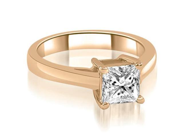 0.35 cttw. Cathedral Princess Solitaire Diamond Engagement Ring in 14K Rose Gold