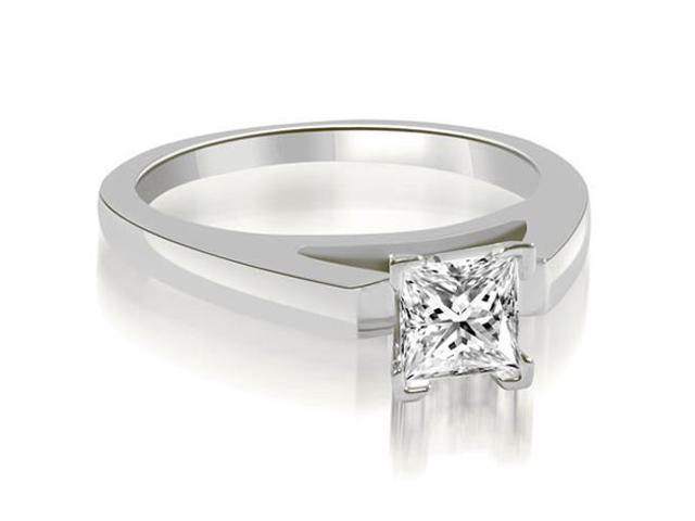 0.35 cttw. Cathedral V-Prong Princess Diamond Engagement Ring in 18K White Gold