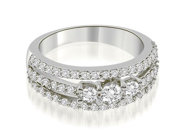0.84 cttw. Three-Stone Split Shank Diamond Wedding Ring in 18K White Gold