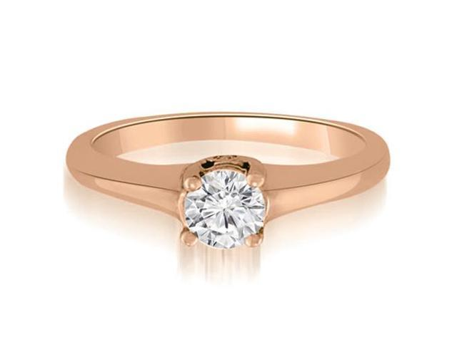 0.78 cttw. Round Cut Diamond Engagement Ring Solitaire in 18K Rose Gold (SI2, H-I)