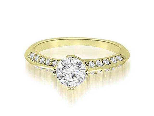 1.00 cttw. Knife Edge Round Cut Diamond Engagement Ring in 18K Yellow Gold (VS2, G-H)