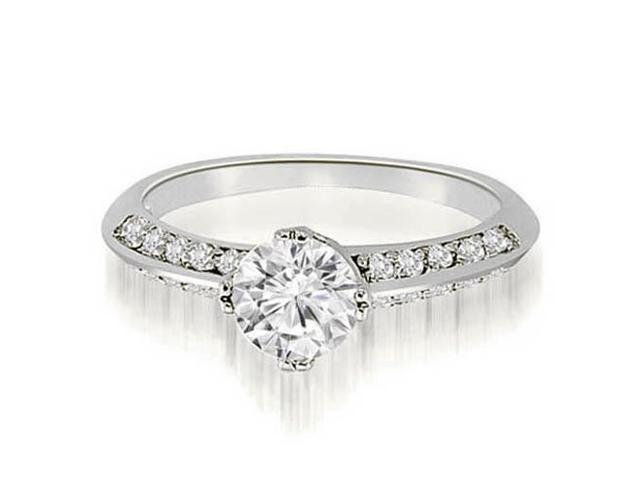 0.70 cttw. Knife Edge Round Cut Diamond Engagement Ring in Platinum (VS2, G-H)