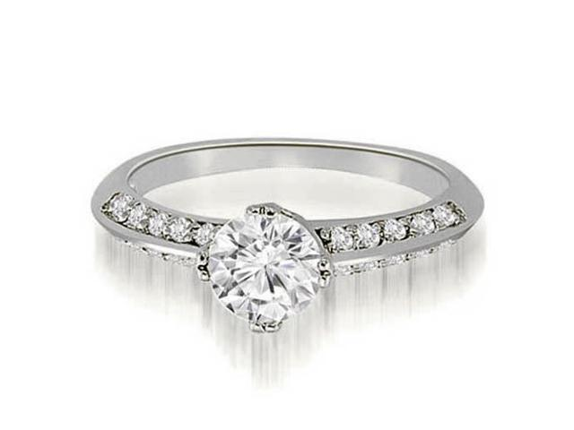 0.75 cttw. Knife Edge Round Cut Diamond Engagement Ring in 14K White Gold (VS2, G-H)