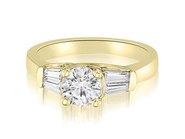 1.00 cttw. 3-Stone Round And Baguette Diamond Engagement Ring in 18K Yellow Gold (VS2, G-H)