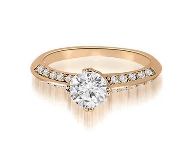 1.00 cttw. Knife Edge Round Cut Diamond Engagement Ring in 14K Rose Gold (VS2, G-H)