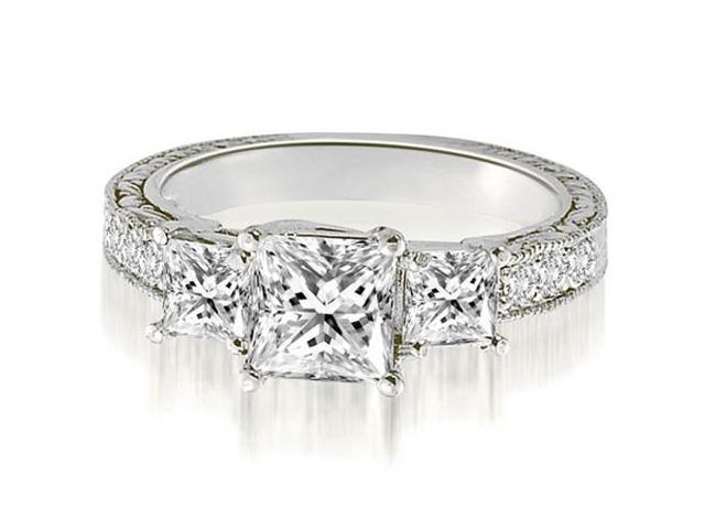 1.75 cttw. Antique Three-Stone Princess Diamond Engagement Ring in Platinum (SI2, H-I)