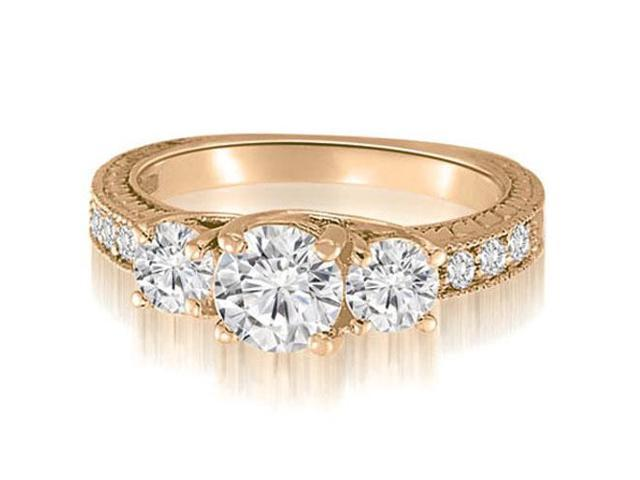 1.15 cttw. Three-Stone Trellis Round Cut Diamond Engagement Ring in 14K Rose Gold (VS2, G-H)