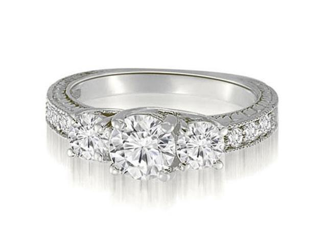 1.40 cttw. Three-Stone Trellis Round Cut Diamond Engagement Ring in 14K White Gold (SI2, H-I)